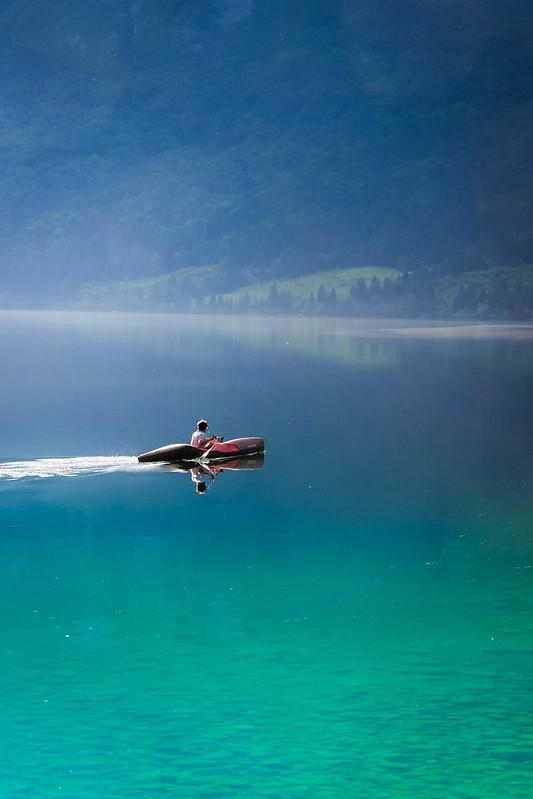 Kayaking on Bohinsko Jezero, Slovenia