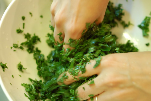 Massaging the sh#t out of some kale by Eve Fox, the Garden of Eating blog, copyright 2013