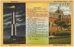 Lighthouse, Cape Henry, Va. The Cavalier Hotel, Virginia Beach, Va.