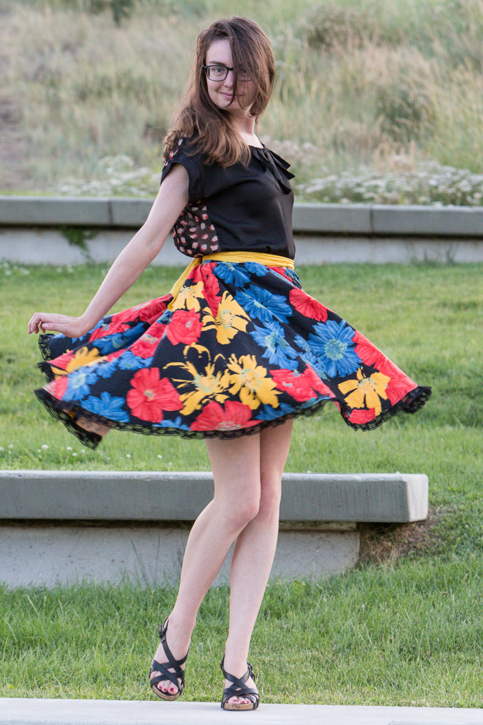 floral skirt, yellow sash, Shakespeare, black top, Tullaire,