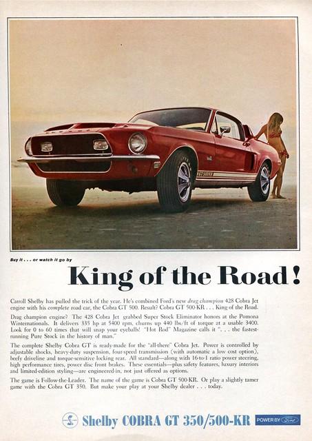 1968 Ford Mustang Shelby Cobra GT 350 500-KR Advertising Road & Track June 1968