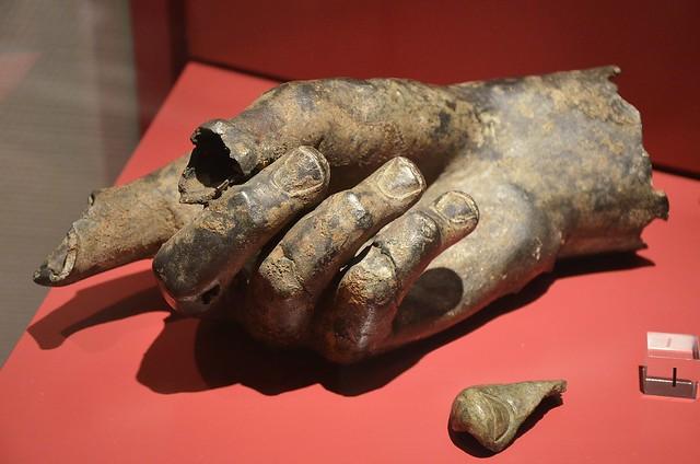 Fragments of a monumental statue found in Forum Hadriani, bronze, 2nd-3rd century AD, Voorburg, Rijksmuseum van Oudheden, Leiden