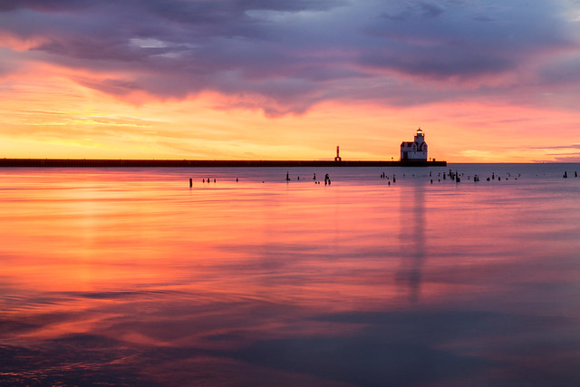 Sunrise, Kewaunee, Wisconsin, Lighthouse, Lake michigan