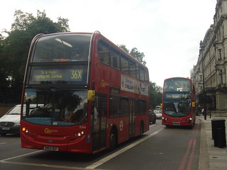 Go-Ahead London E266 on Route 36X, Arriva HV53 on Route 73, Hyde Park Corner