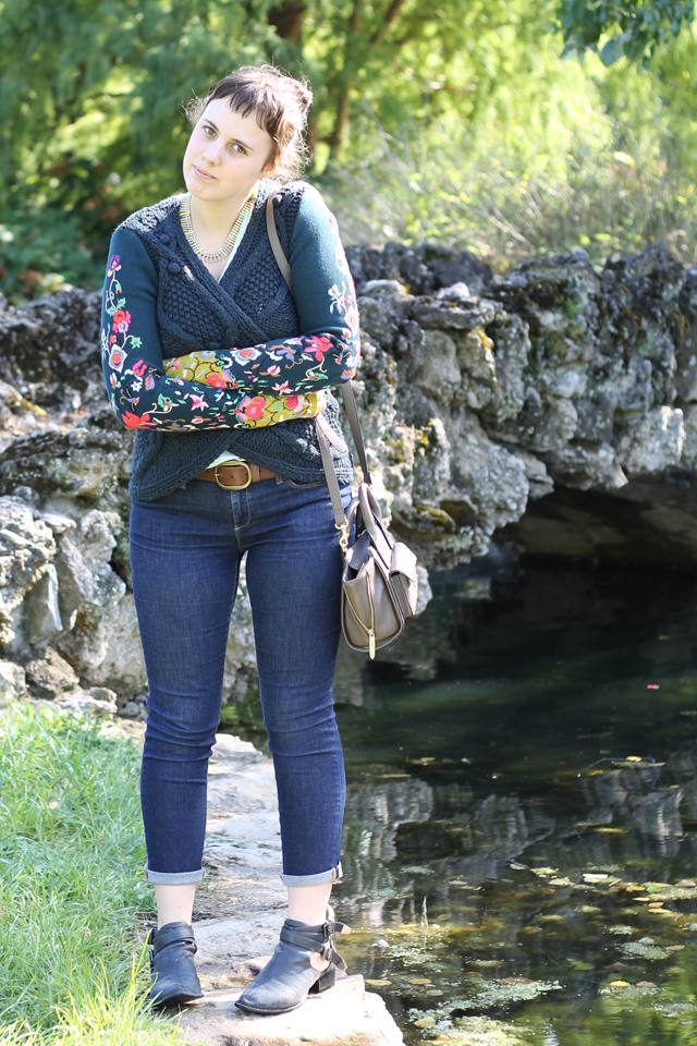 Fall Floral outfit: ice-blue American Apparel deep-V t-shit, Pilcro Serif jeans, Madewell neon necklace, Jeffrey Campbell Everly ankle boots, Phillip Lim for Target Bag, Anthropologie Stitched Flora Cardigan