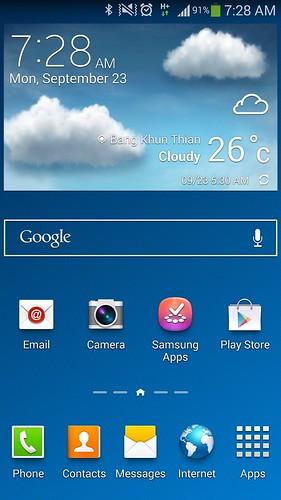 หน้า Home screen ของ Samsung Galaxy Note 3