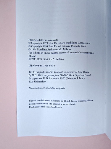 IMG_9363H. D., Fine al tormento. Archinto / RCS 2013. [responsabilità grafica non indicata]. Colophon (part.), 1
