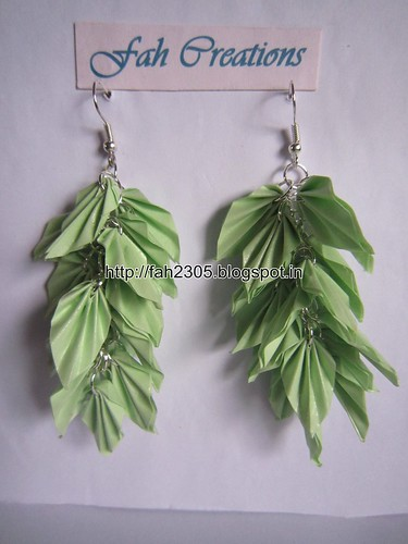 Handmade Jewelry - Origami Paper Leaves Earrings (8) by fah2305