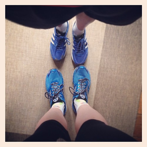 His and hers blue running shoes - back from parkrun #parkrun #running #shoes #blue