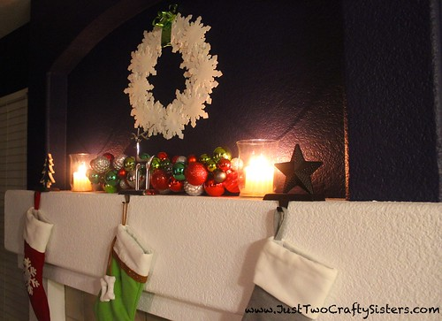 Holiday festive mantel