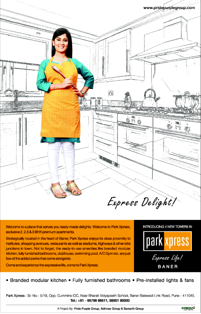 Park Xpress - 2 BHK 2.5 BHK 3 BHK Flats at Sr. No. 5/9, opp. Cummins IOC, near Bharati Vidyapeeth School, Baner Balewadi Link Road, Pune 411045 (6-12-2013)