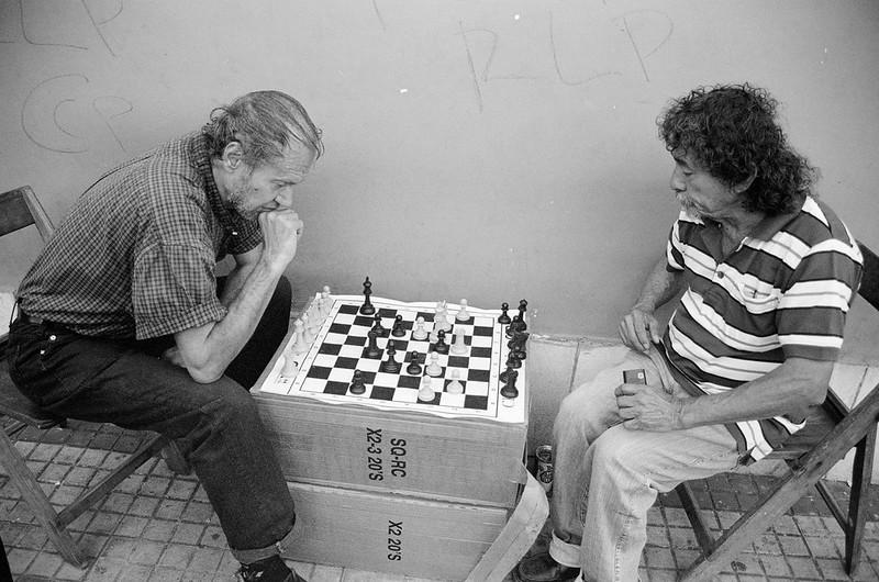 Jugadores de ajedrez, centro de Asunción Paraguay