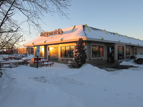 The Mc Donald's fast food restaurant on Dempster Street at sunset.  Niles Illinois.  Thursday, January 2nd, 2014. by Eddie from Chicago