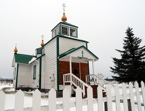The Holy Transfiguration of Our Lord Chapel, historic Russian Orthodox church, built in 1901, cruxiform-shaped building, designed by Alexi Andreev Oskolkoff, Ninilchik (Russian: Нинильчик), Kenai Penisula, Alaska, USA by Wonderlane