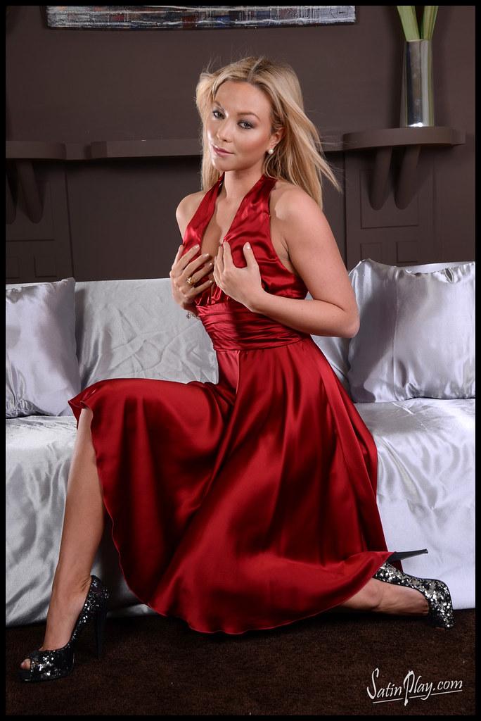 Natalia Forrest Red Silk Dress  Ireallylovepuresilk2016 -5974