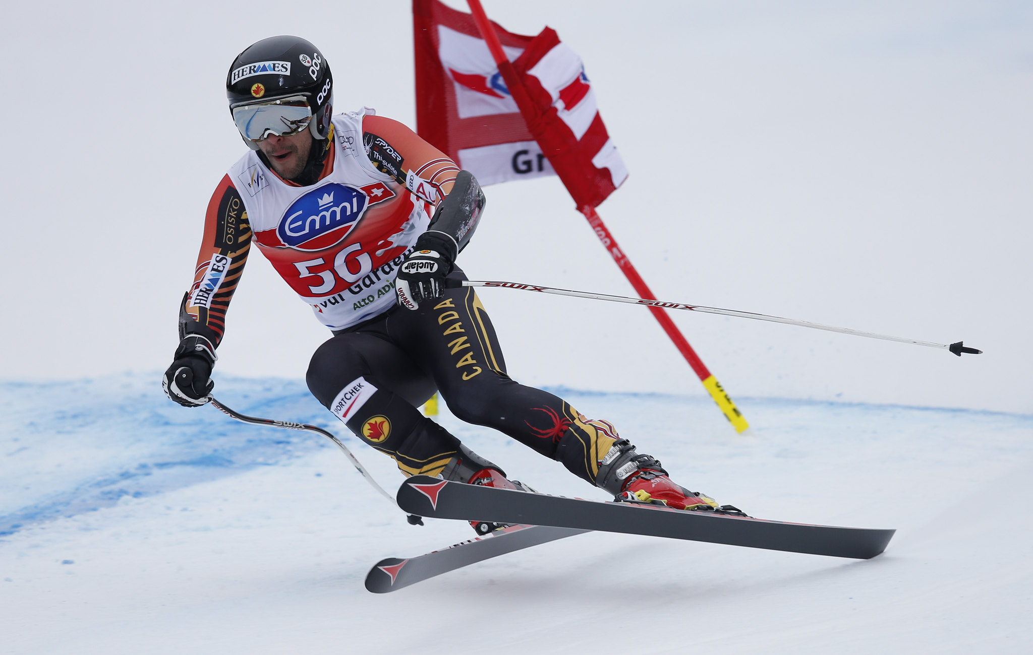 Conrad Pridy charges on during the Super-G in Val Gardena, ITA