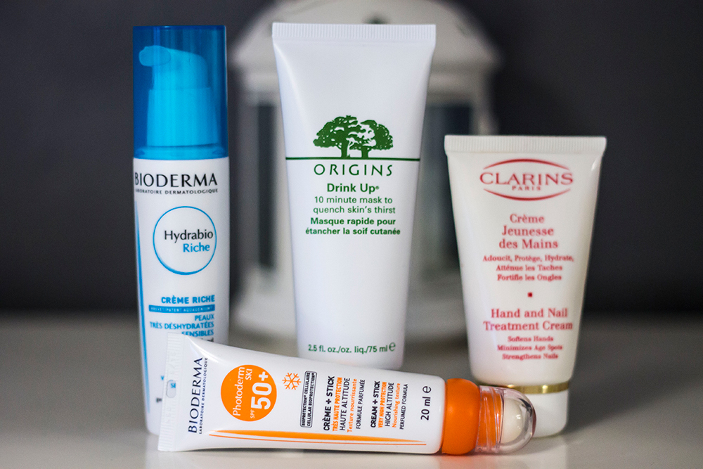 cold weather skincare: bioderma Hydrabio Riche Moisturiser, Bioderma Photoderm Ski SPF 50, Origins Drink Up Mask and Clarins Hand and Nail Treatment Cream