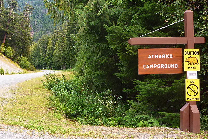 Be Bear Aware at Atnarko Campground, Tweedsmuir South Provincial Park, Chilcotin, British Columbia, Canada
