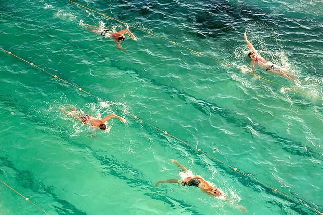 Swimming in the pool at Bondi beach in Sydney, Australia.
