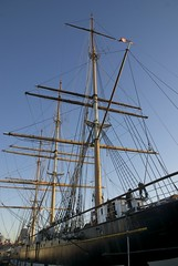 Balclutha's rigging at sunset