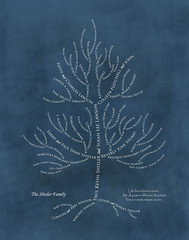 Family tree with names art blue white ancestry roots