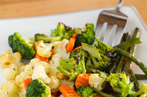 Roasted frozen veggies