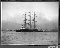 Three-masted barque CHILLICOTHE under tow in Sydney Harbour