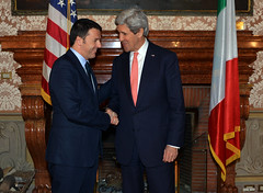 U.S. Secretary of State John Kerry meets with Italian Prime Minister Matteo Renzi in Rome, Italy, on March 6, 2014. [State Department photo/ Public Domain]