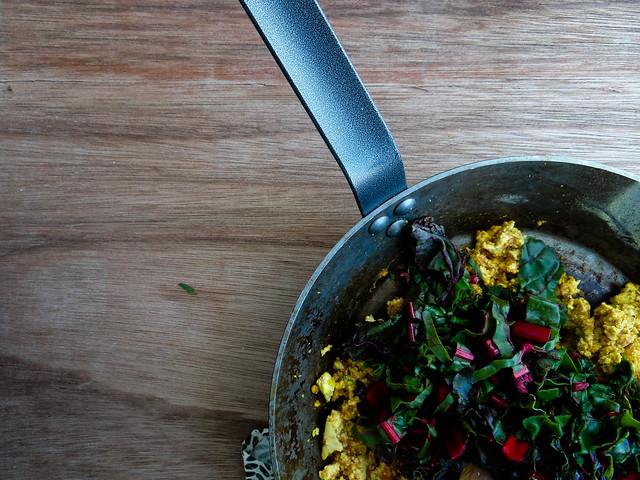 tofu scramble // swiss chard & salsa
