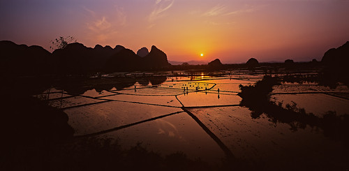 Sunset from Country side of Guilin