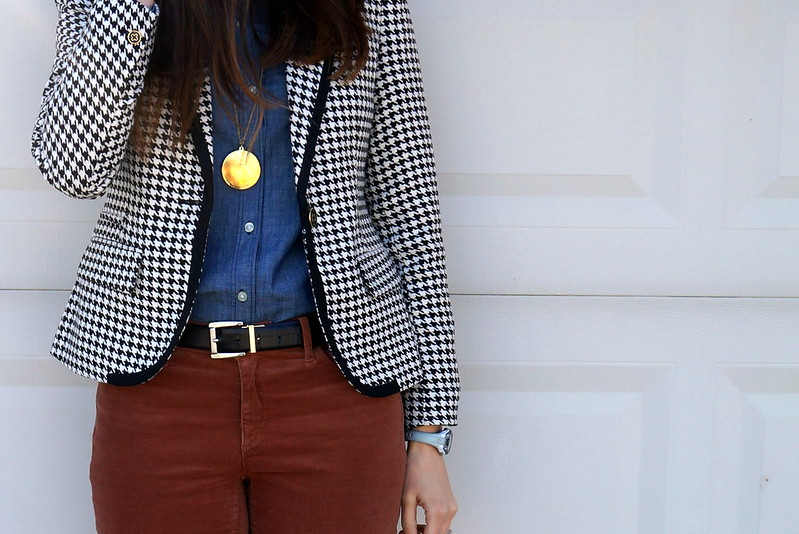 houndstooth blazer, chambray, and cords
