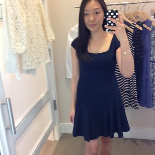 LOFT navy seamed skirt dress