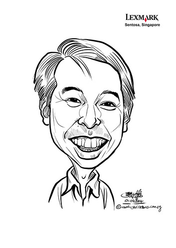 digital caricature for Lexmark - Andrew Yeong