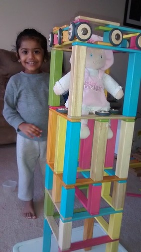 Tall castle built by my 2 and half year old with very little help from mommy