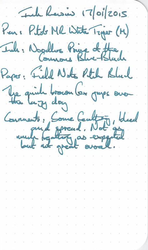 Noodler's Prime of the Commons Blue-Black Ink Review - Field Notes