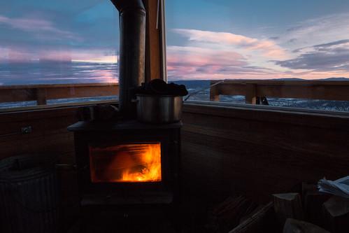 woodstove firelookout winterrental hagermountainlookouteasternoregon