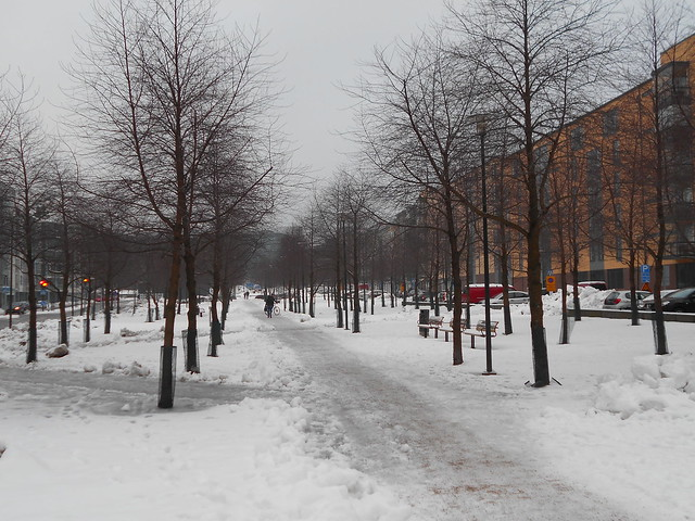 Luminen maisema Espoon Leppävaaran keskustassa 4.2.2015