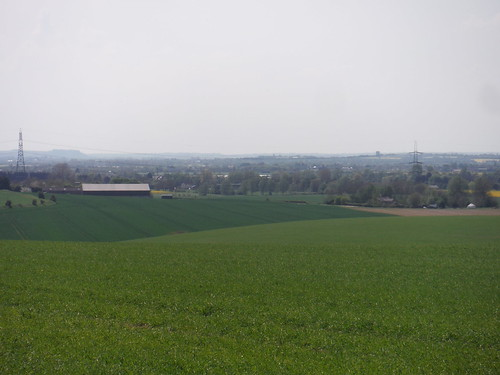 Caldecote, from Newnham Hill, with Sharpenhoe Clappers and Pulloxhill Water Tower behind