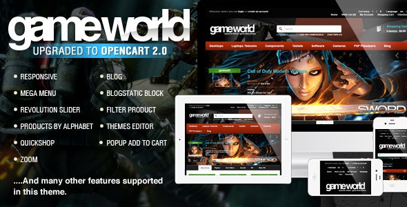 GameWorld - OpenCart Game Theme