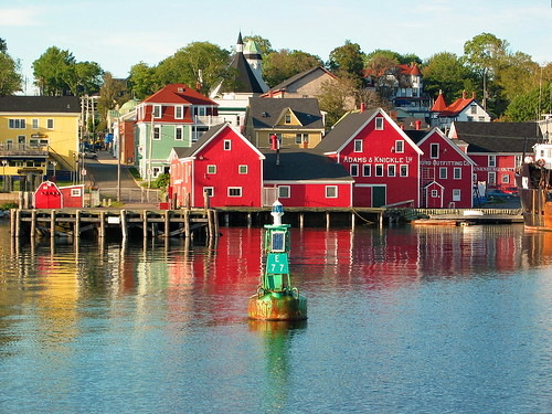 The bright red waterfront buildings of Lunenburg