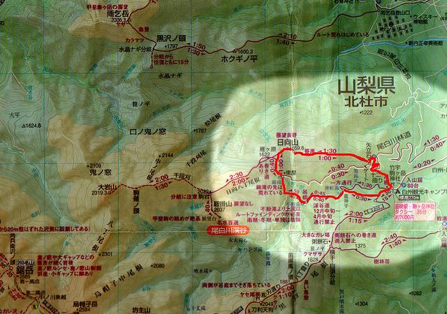尾白川渓谷と日向山の地図