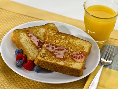 Whole Grain French Toast, Mango Cranberry Syrup, Orange Juice from Flickr via Wylio