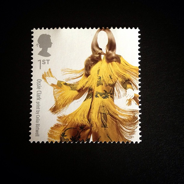 Day 3: Yellow #postalsociety #psjune #yellow #londonfashionweek #postagestamp #stamp #lady #british #dress