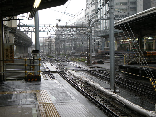 Tokyo Train tracks in the rain