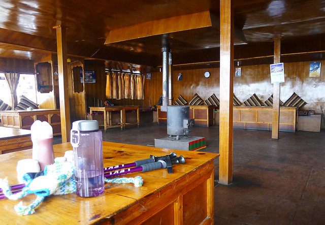 a typical teahouse dining hall found on the Everest Base Camp trek