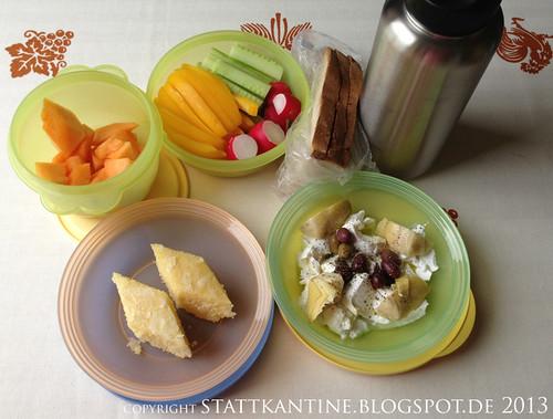 Stattkantine 27. Juni 2013 - Ziegenfrischkäse mit Artischocken, Bauernbrot, Grießkuchen