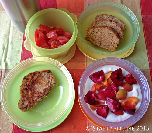 Stattkantine - 17. Juli 2017 - Wiener Schnitzel, Tomatensalat, Pflaumen