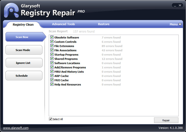 Glarysoft Registry Repair v4.1.0.388