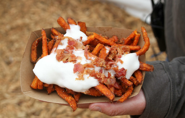 Sweet Potato Fries with Marshmallow Sauce and Bacon Crumble