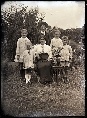 A woman and five children